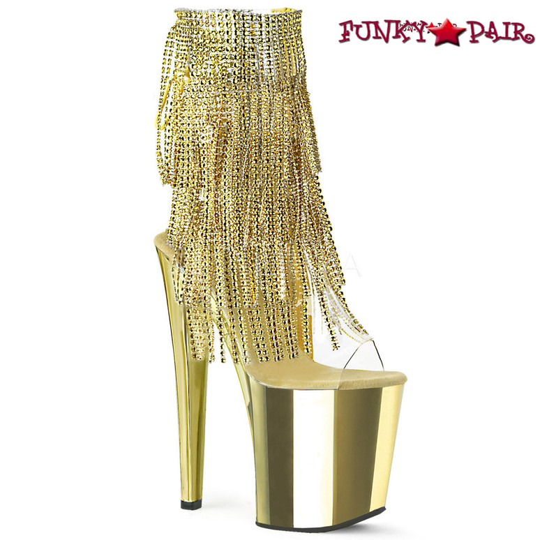 Pleaser | Xtreme-1017RSF, Fringe Ankle Boots with Chrome Platform color gold