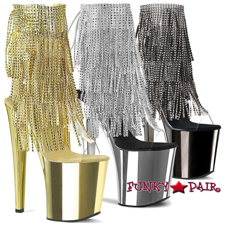 Pleaser Boots Xtreme-1017RSF, Fringe Ankle Boots with Chrome Platform