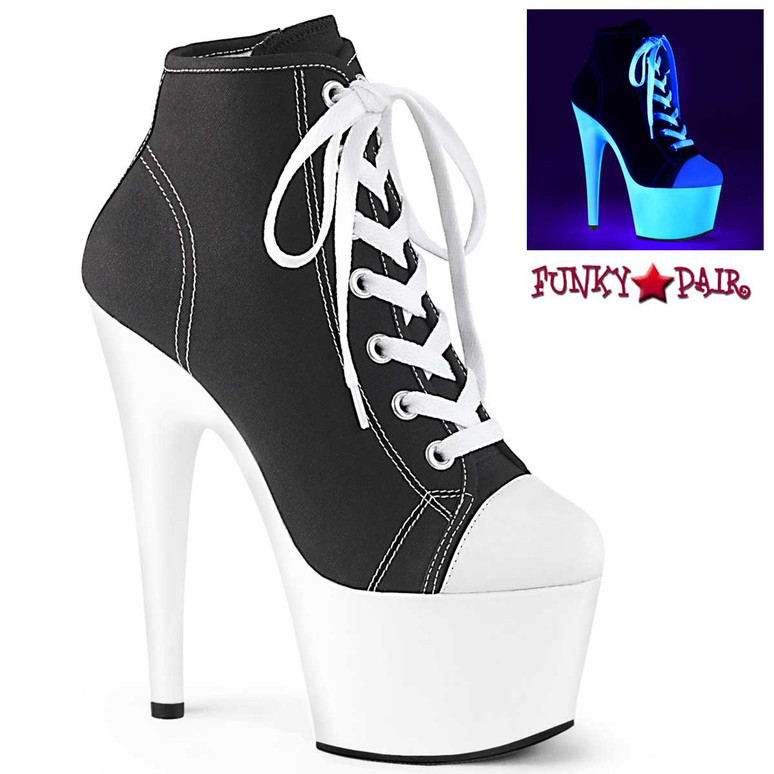 Adore-700SK-02, Black High Heel Platform Sneaker Ankle Boots by Pleaser