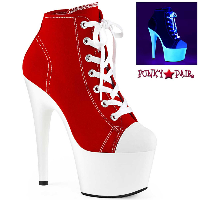 Adore-700SK-02, Red High Heel Platform Sneaker Ankle Boots