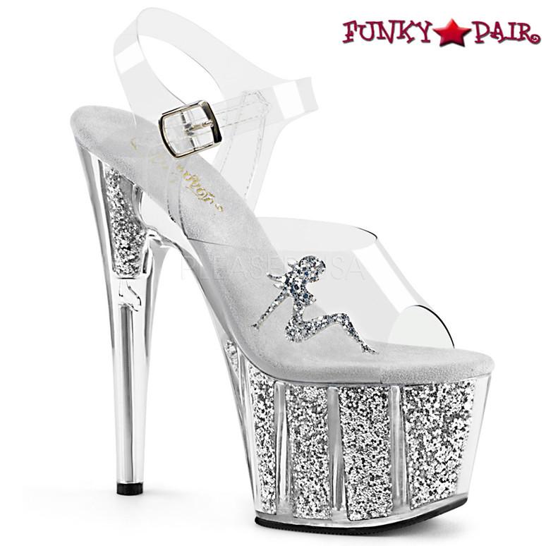 Pleaser | Adore-708GTG, Trucker Girl Platform Sandal with Glitter color silver