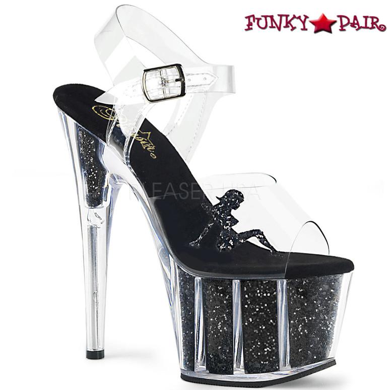 Pleaser | Adore-708GTG, Trucker Girl Platform Sandal with Glitter color black