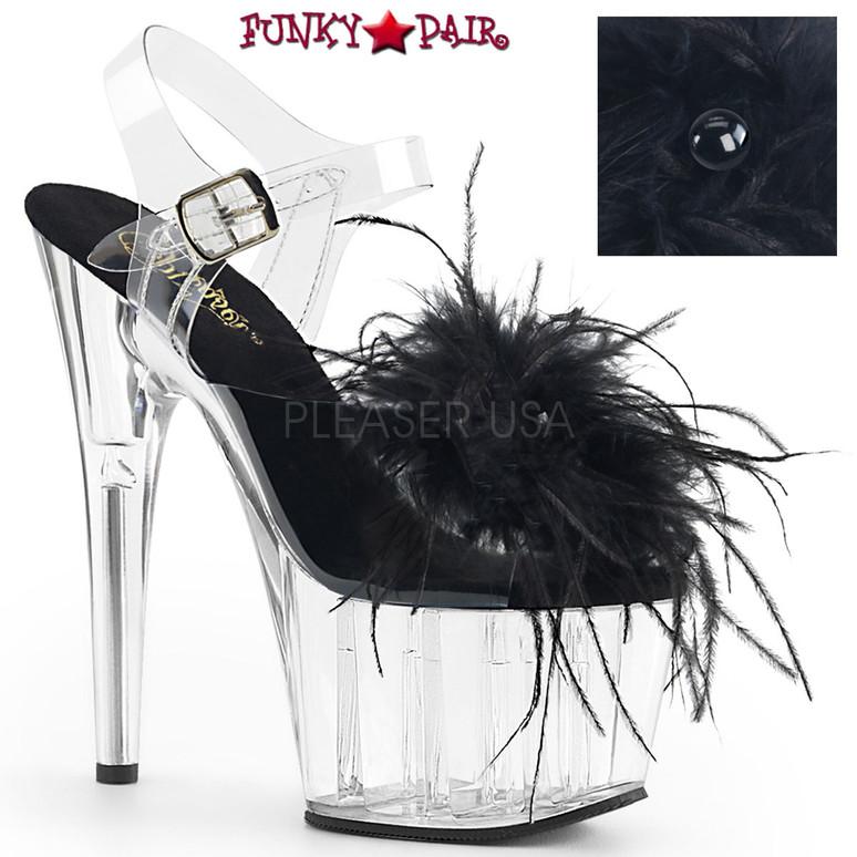 Pleaser | Adore-708MF, Ankle Strap Marabou Platform Sandal color black