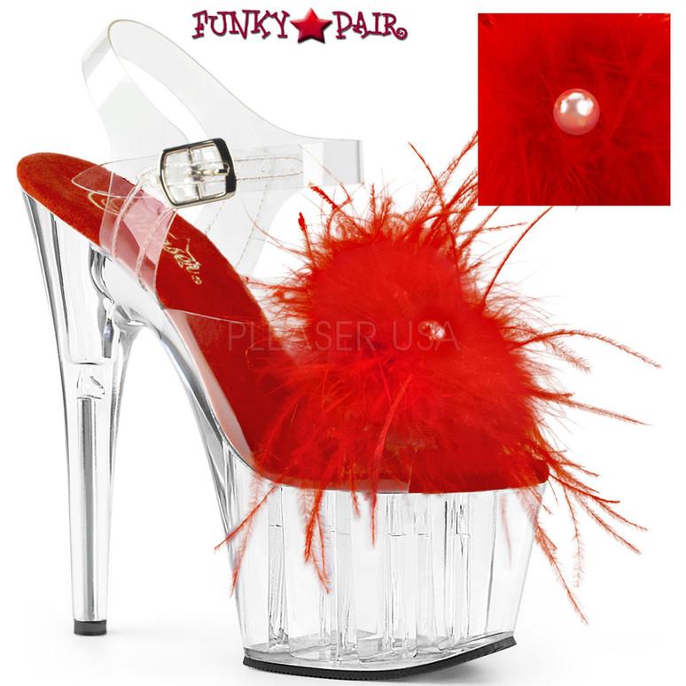 Pleaser | Adore-708MF, Ankle Strap Marabou Platform Sandal color red