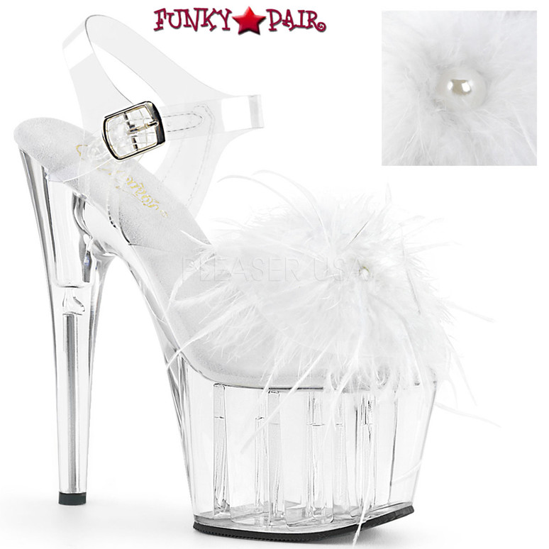 Pleaser | Adore-708MF, Ankle Strap Marabou Platform Sandal color white