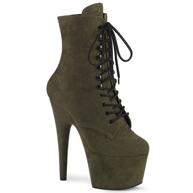 Adore-1020FS, 7 Inch Grey Suede Ankle Boots by Pleaser