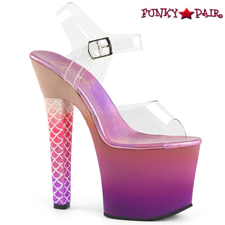 Pleaser | Ariel-708Ombre, Thick Heel Mermaid Scale Ombre Platform Sandal Color Purple