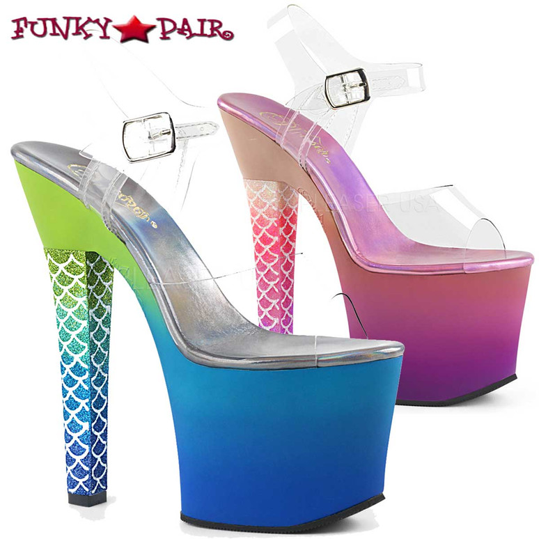 Pleaser Clearance | Ariel-708Ombre, Thick Heel Mermaid Scale Ombre Platform Sandal