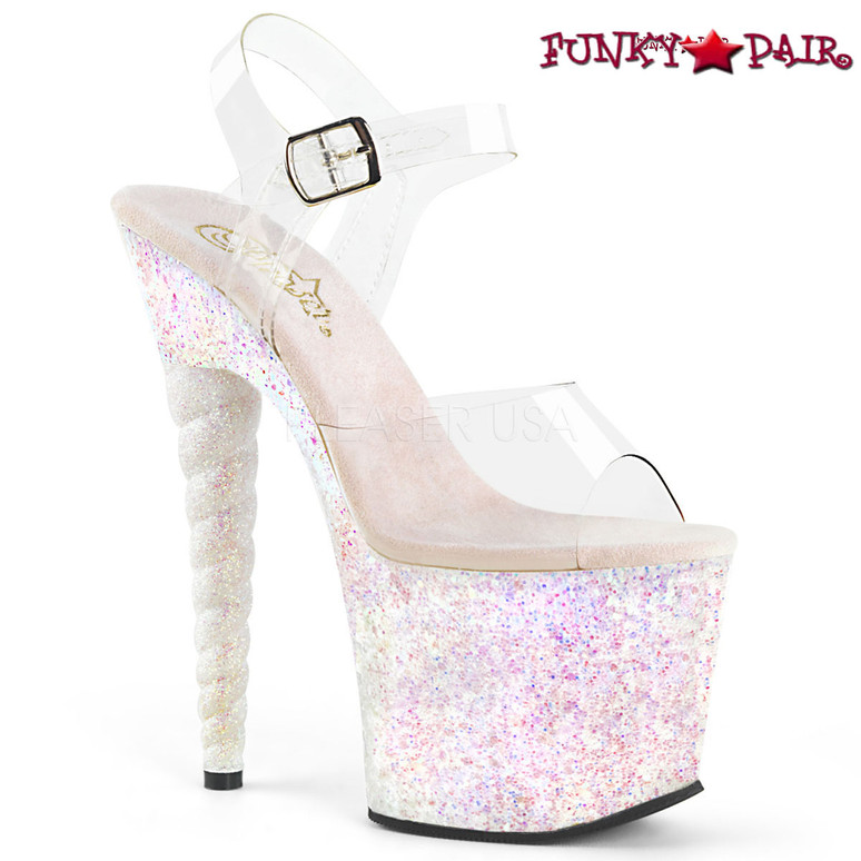 Pleaser | Unicorn-708LG, Glitter Platform Sandal with Unicorn Heel