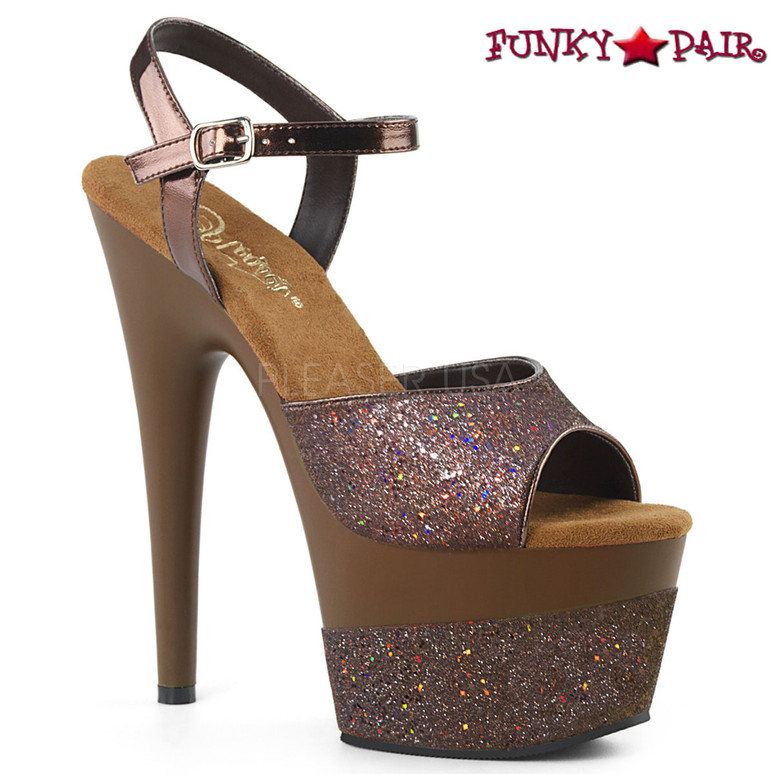 Pleaser | Adore-709-2G, Glitter Platform Sandal Color brown