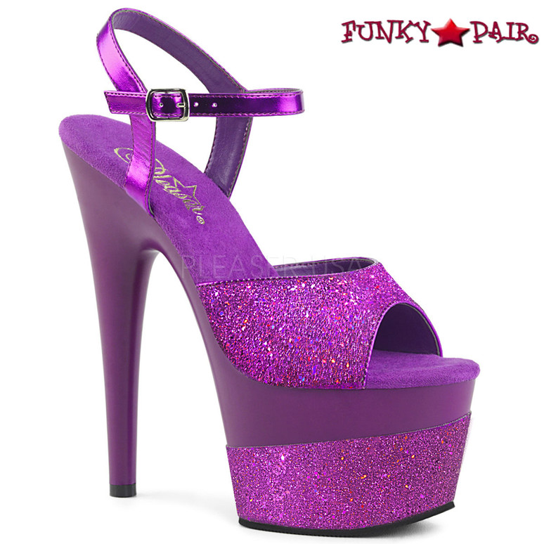 Pleaser | Adore-709-2G, Glitter Platform Sandal Color Purple