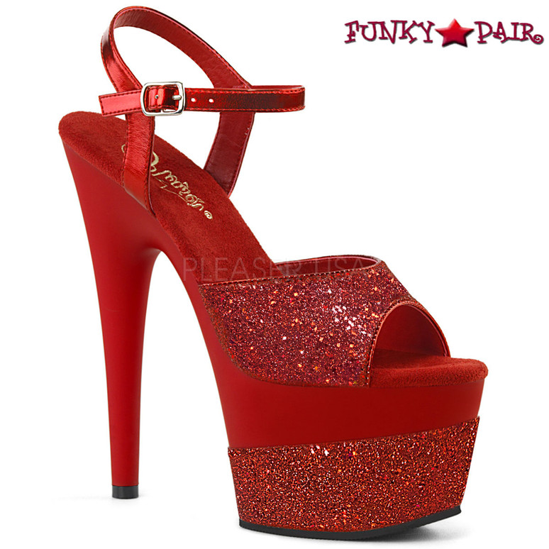 Adore-709-2G, Glitter Platform Sandal Color Red