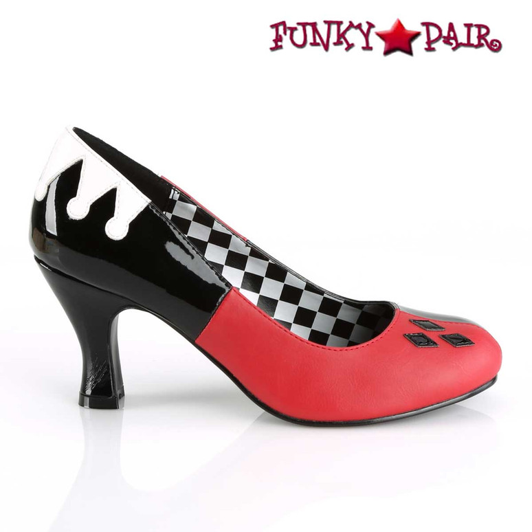 Harley-42,  Side View Quinn Jester Cosplay Pump | Funtasma Costume Shoes