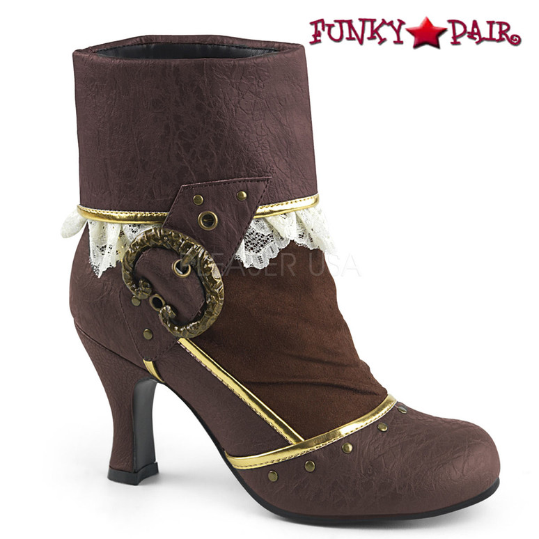 Funtasma | Matey-115, Lace-Lined Cuffed Ankle Boots color brown faux leather