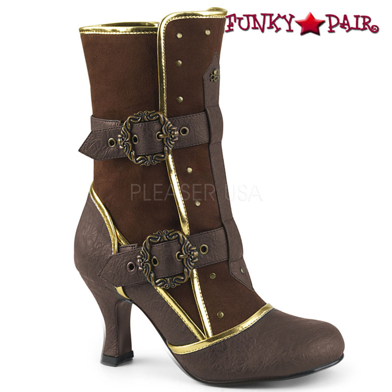 Matey-205, Brown Cosplay Ankle Boots with Octopus Buckle Straps | Funtasma