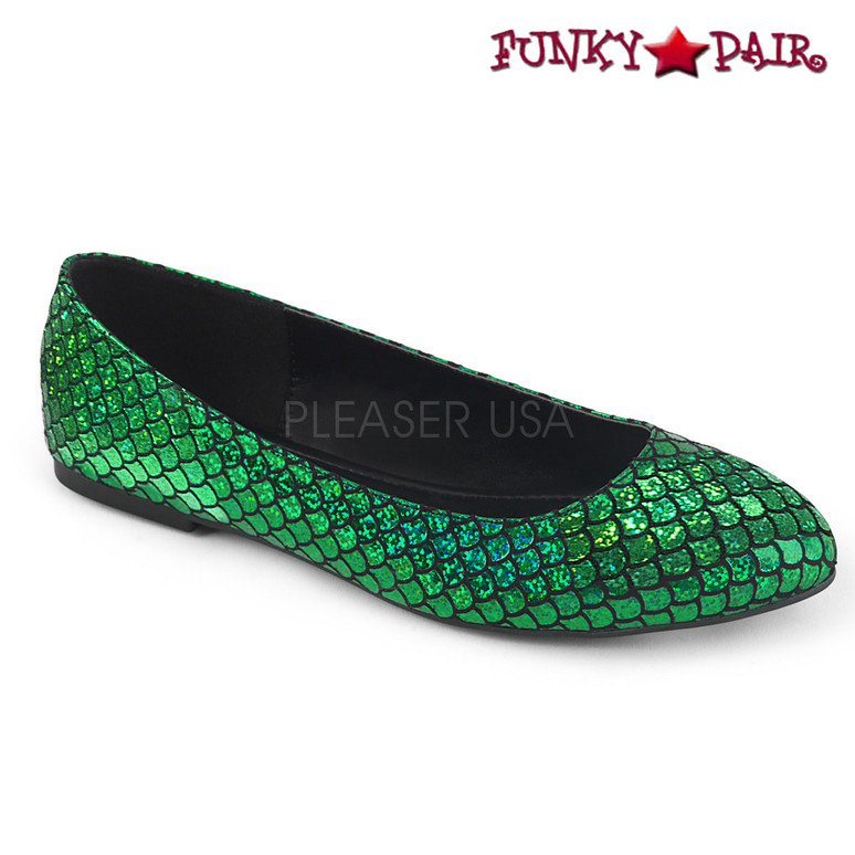 Funtasma | Mermaid-21 , Green Mermaid Fish Scale Ballet Flats