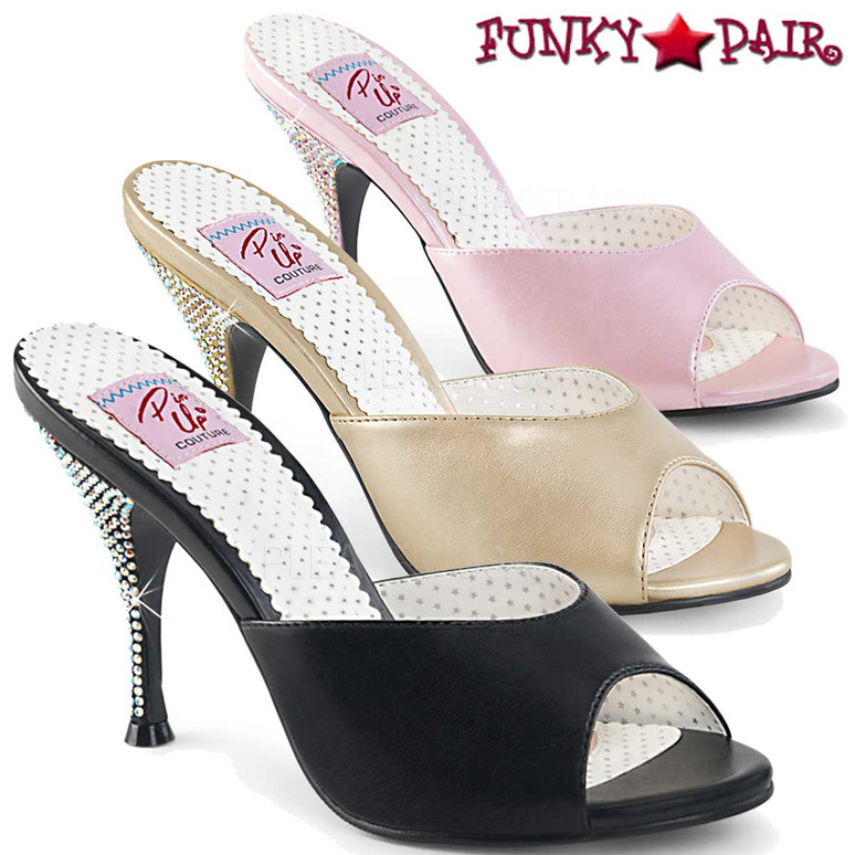 Pin Up Shoes | Monroe-05, Rhinestones Heel Slide color available: black, champagne, pink