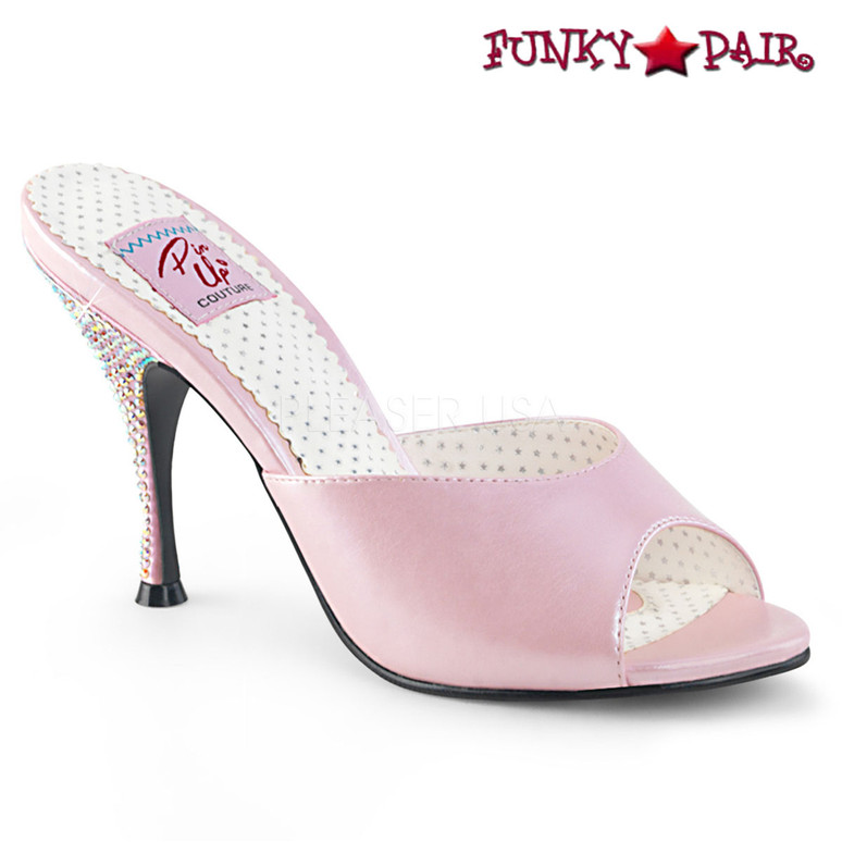 Pin Up Shoes | Monroe-05, Rhinestones Heel Slide color pink