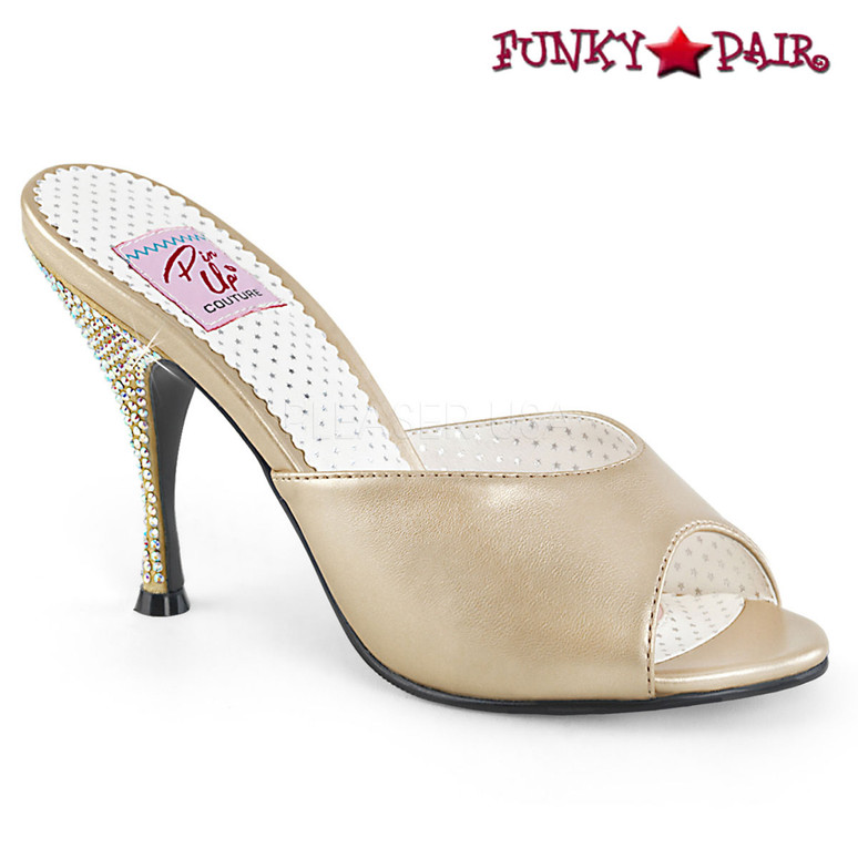 Pin Up Shoes | Monroe-05, Rhinestones Heel Slide color champagne