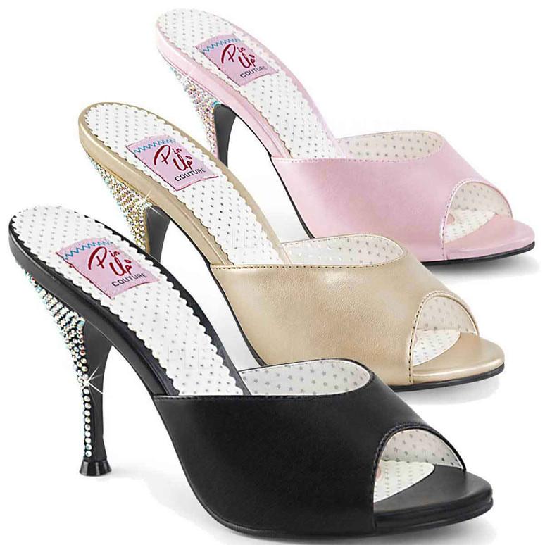 Pin Up Shoes | Monroe-05, Rhinestones Heel Slide