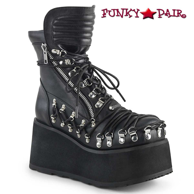 Demonia Boots   Clash-150, Chunky Platform Ankle Boots with Corset Style Lacing