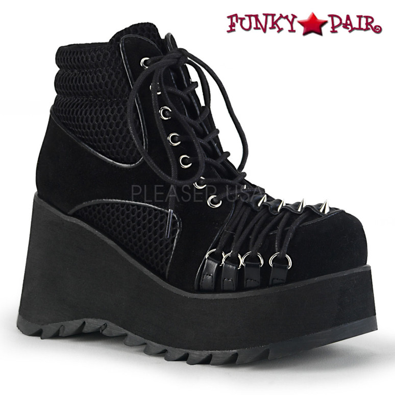 Demonia | Scene-32, Wedge Platform Ankle Boots with Criss Cross D-ring
