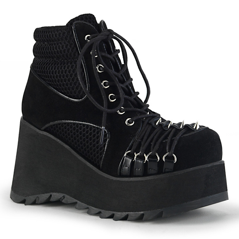 Wedge Platform Ankle Boots with Criss Cross D-ring Demonia | Scene-32,