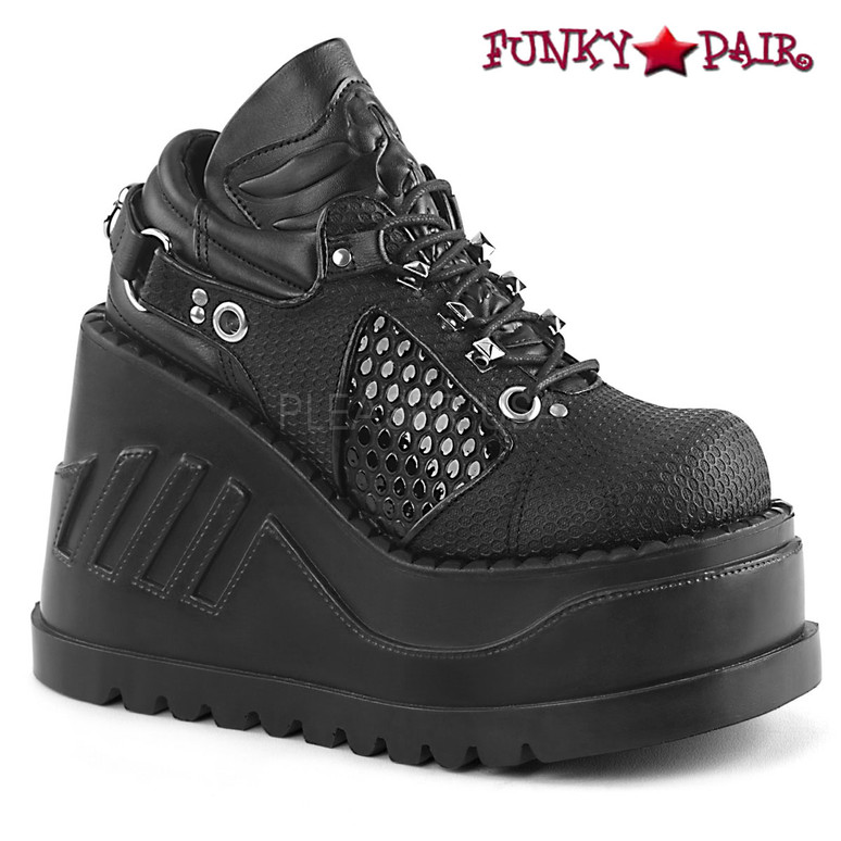 Demonia Shoes | Stomp-09, Platform Wedge with Harness Strap