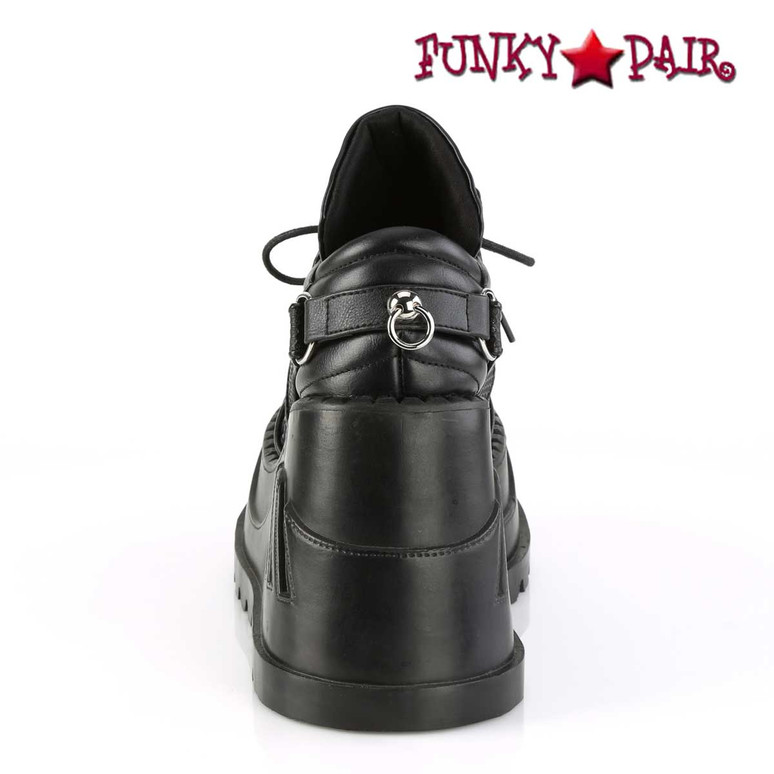 Back View Stomp-09, Platform Wedge with Harness Strap