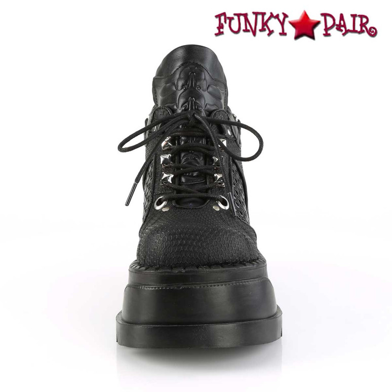 Front view Stomp-09, Platform Wedge with Harness Strap