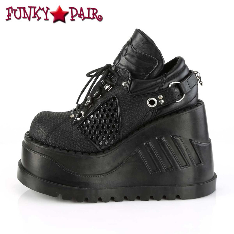 Inner Side View Stomp-09, Platform Wedge with Harness Strap
