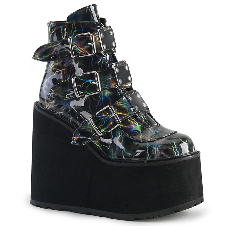 Swing-105LBH, Platform Ankle Boots with Lightning Design Demonia Boots