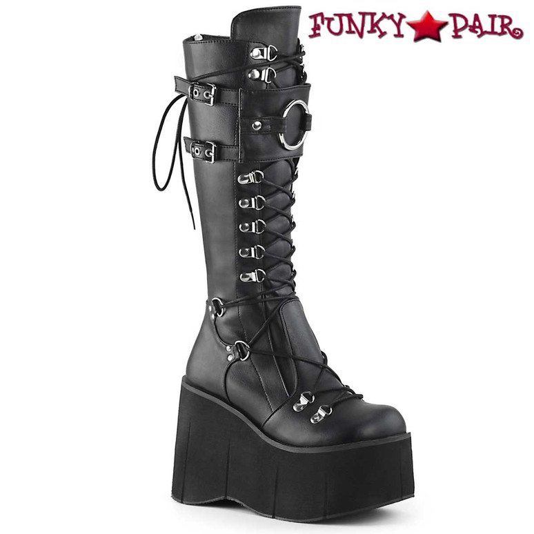 Demonia | Kera-200, Platform Lace-up Knee High Boots color black vegan leather