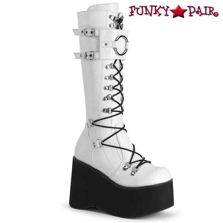 Demonia | Kera-200, Platform Lace-up Knee High Boots color white vegan leather