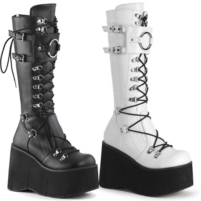 Gothic Platform Lace-up Knee High Boots Demonia Kera-200