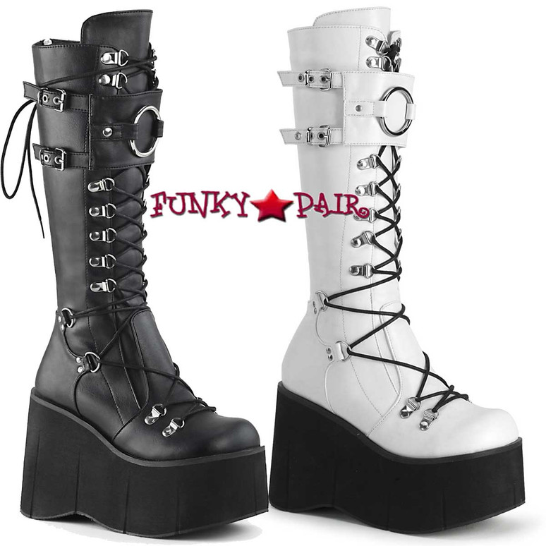 Women's Demonia | Kera-200, Platform Lace-up Knee High Boots