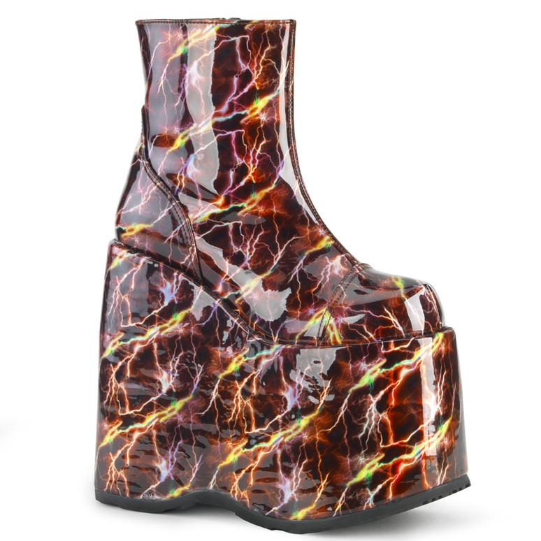 Slay-204BLH, Raver Platform with Lightning Print Demonia Boots