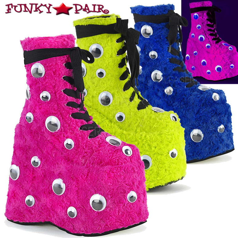 Raver Boots | Slay-206, Furry Boots with Googly Eyes