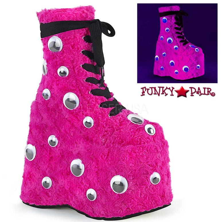 Raver Hot Pink Platform with Googly Eyes by Demonia Slay-206