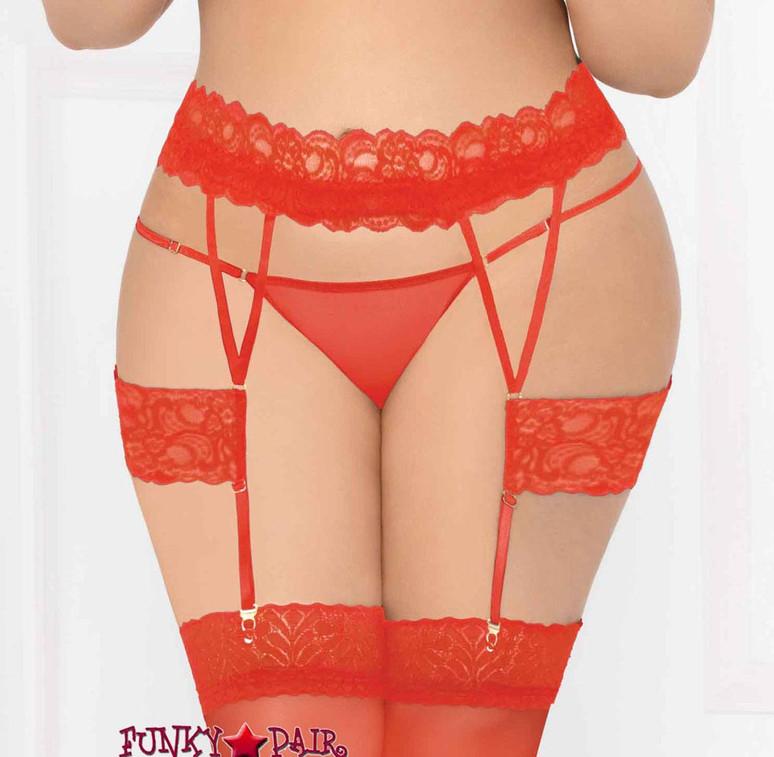 STM-10929X, Plus Size Lace Suspender Garter Belt | Seven 'til Midnight color red