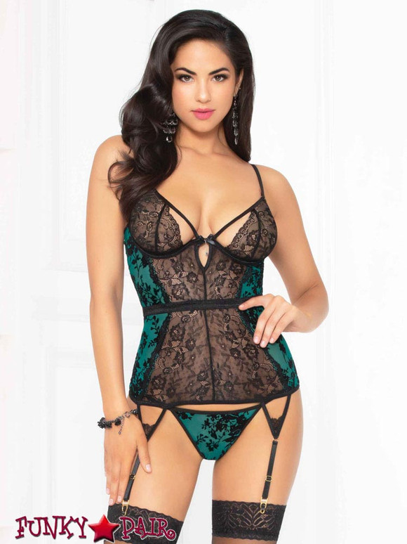 STM-10925, Mesh and Lace Bustier Set | Seven 'til Midnight color green