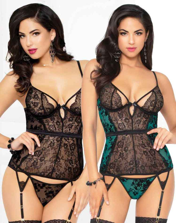 STM-10925, Mesh and Lace Bustier Set   Seven 'til Midnight color available: Black, Green