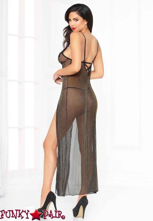 STM-10914, Glitter Mesh Gown Black back view