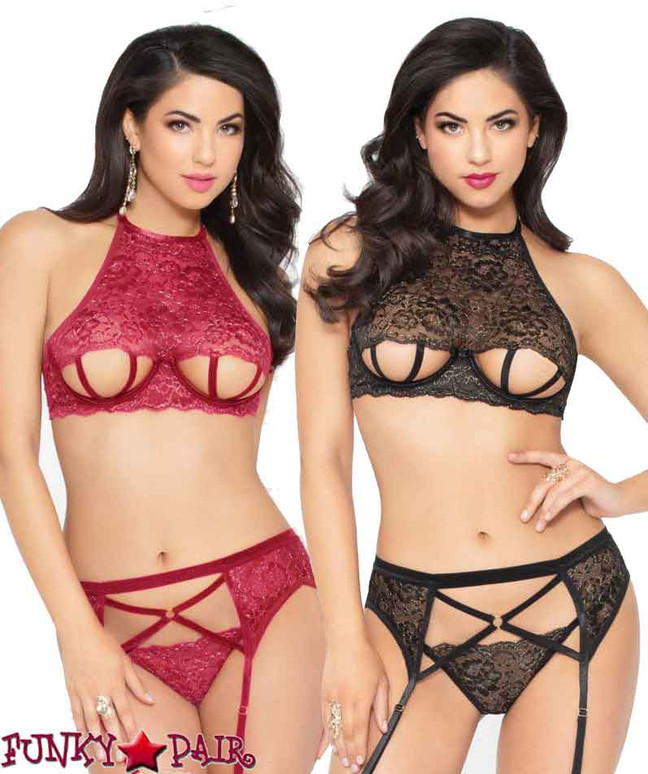 STM-10948, Strappy Cut out Bra Set | Seven 'til Midnight