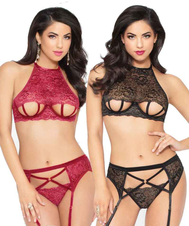 STM-10948, Strappy Cut out Bra Set | Seven 'til Midnight color available: Wine, Black