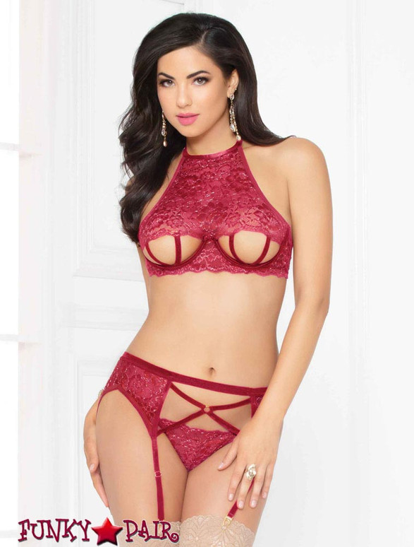 STM-10948, Strappy Cut out Bra Set | Seven 'til Midnight color wine