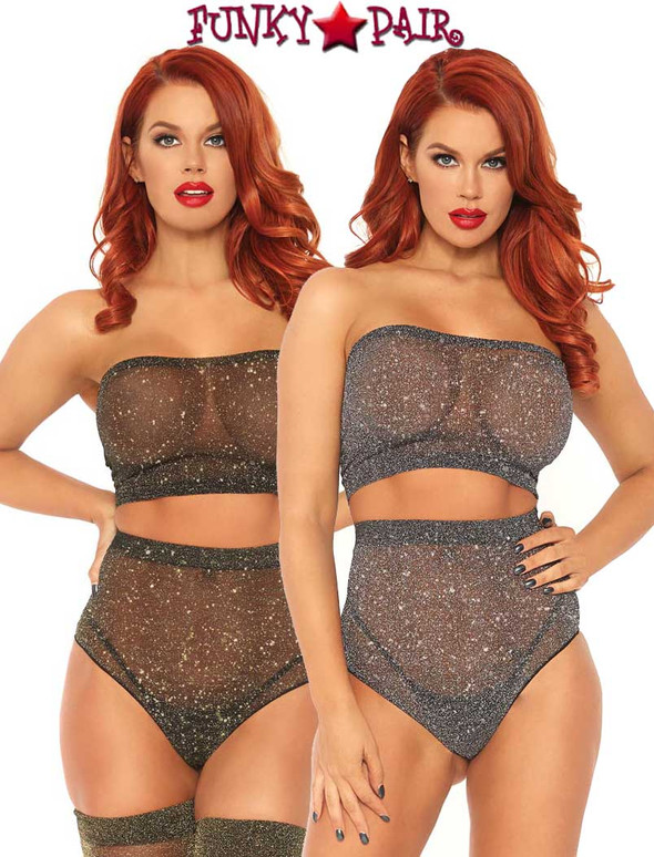 Leg Avenue | LA81571, Shimmer Spandex Bandeau Top and Panty | Funkypair.com
