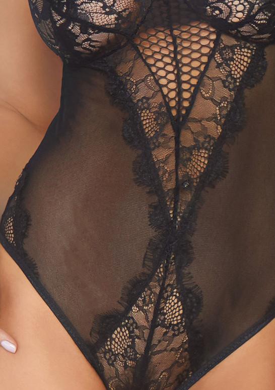 Leg Avenue | LA89239, Eyelash Lace and Mesh Teddy color black close up