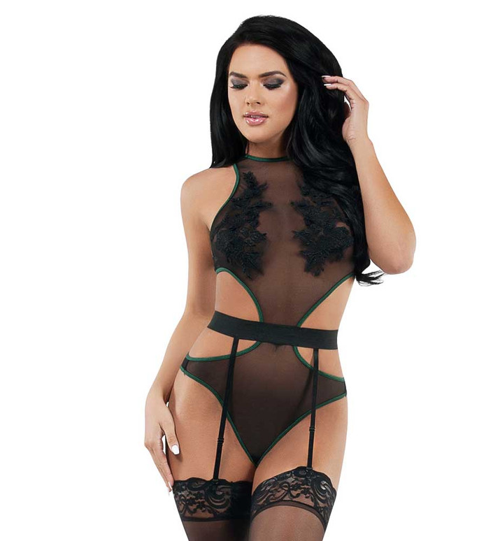 SL9009, Mesh Cutout Teddy with Attached Garters