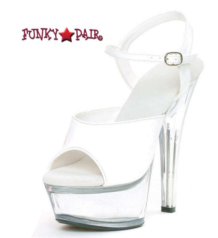 601-Juliet-C, Platform Clear Heel Sandal Color White/Clear